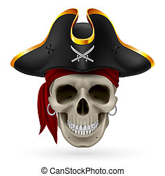 Pirate skull in red bandana and cocked hat
