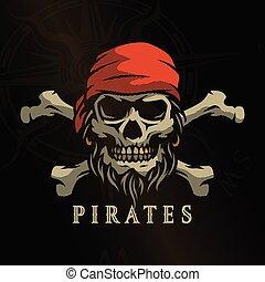 Pirate skull in vintage style. Skeleton head and crossed bones on a dark background.