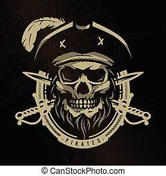Pirate skull in vintage style. Skeleton head and crossed swords on a dark background.