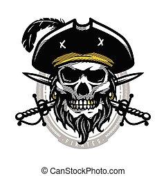 Pirate skull in vintage style. Skeleton head and crossed swords. Vector illustration, emblem, logo.