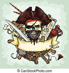 Pirate Skull logo design, vector illustrations with space...