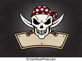 Pirate Skull - Pirate skull emblem on textured background...