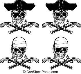 Pirate skull pistols set