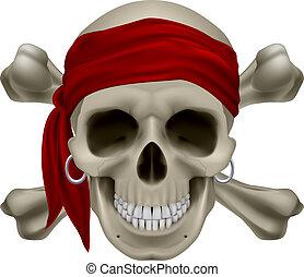 Pirate Skull, Red bandanna and bones. Illustration on white