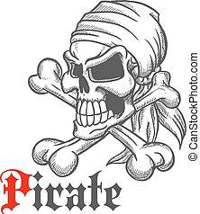 Pirate skull sketch with crossbones