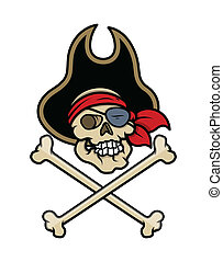 Pirate Skull Tattoo - Vector Art