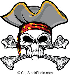 vector illustration skull and crossbones on with pirate hat