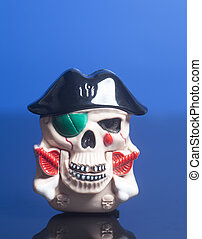 Pirate skull wearing a hat.