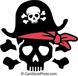 Pirate skull with bones and red headscarf