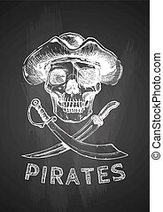 pirate skull with cross swords.