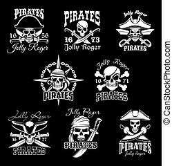 Pirate skull with crossbone, Jolly Roger icon set - Pirate ...