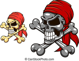 Pirate skull with crossbones in cartoon style for tattoo or...