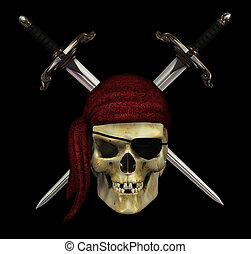 Pirate Skull with Daggers - on Black - A pirate skull with...
