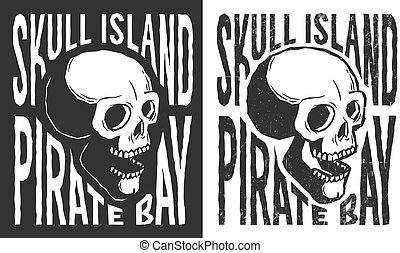 Pirate skull with lettering tattoo print in retro style