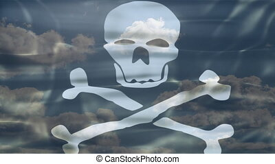Pirate Sky Flag - 3D Pirate Flag waving, white skull and...
