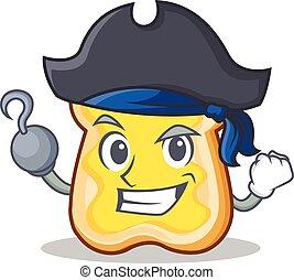 Pirate slice bread cartoon character vector art illustration
