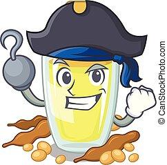 Pirate soybean oil put in cartoon bottle