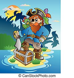 Pirate standing on chest on island - vector illustration.