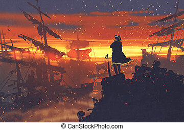 pirate standing on treasure pile against ruined ships at...