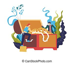 Pirate stealing treasury box full of wealthy objects vector...