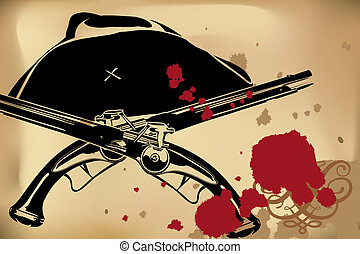 Pirate still-life - Vector Pirate still-life on brown...