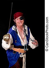Pirate isolated on black with a cutlass