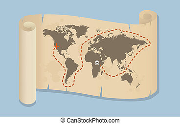 Pirate Style Map Of The World