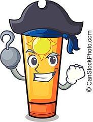Pirate sun cream in the mascot shape vector illustration