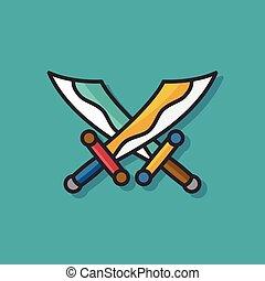 pirate sword vector icon