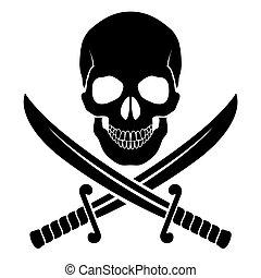 Pirate symbol - Black skull with crossed sabers. ...