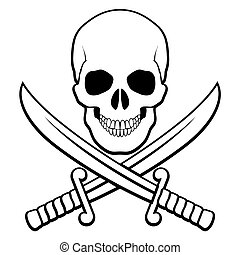 Pirate symbol - Skull with crossed sabers beneath. Black-and...