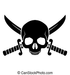 Pirate symbol - Skull with crossed sabers. Black-and white...