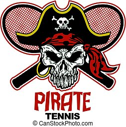pirate tennis team design with mascot and crossed racquets for school, college or league