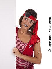 pirate, tenue femme, a, bannière
