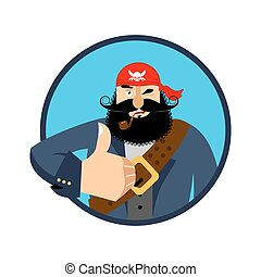 Pirate thumbs up. filibuster winks emoji. buccaneer...