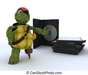 Pirate Tortoise with DVD CD and Software