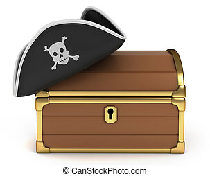 3D Illustration of Pirate Hat on Treasure Chest