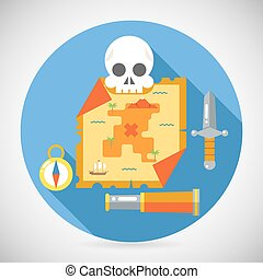 Pirate Treasure Adventure Game RPG Map Action Knife Gagger Spyglass Skull Compass Icon Symbol Wood Table Background Concept Flat Design Vector Illustration