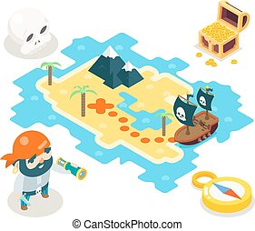 Pirate Treasure Adventure Game RPG Map Icon Isometric Symbol isolated Flat Design Vector Illustration