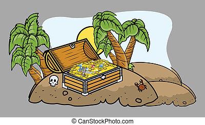 Pirate Treasure Box on an Island
