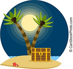 Pirate treasure chest on a tropical beach with palm trees, vector illustration