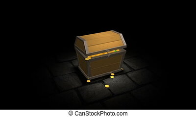 Pirate treasure chest with gold - a video of a pirate...