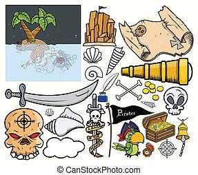 Pirate Treasure Hunt Vector Set - Drawing Art of Cartoon ...