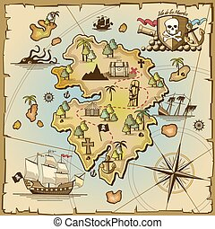 Pirate treasure island vector map. Sea ship, adventure...