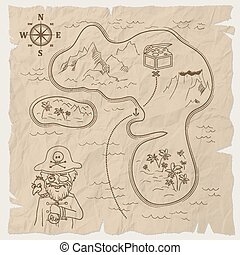 Pirate treasure map of the island on old paper. Vector
