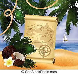 pirate treasure map on tropical background