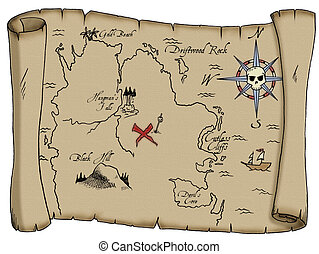 Pirate Treasure Map - A tattered map with labeled landmarks...