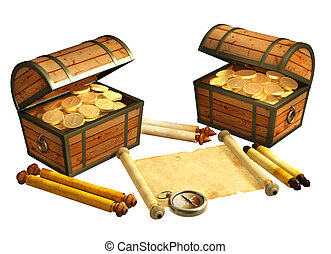 Pirate treasure. Objects isolated over white