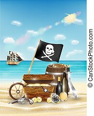pirate treasure on a sand beach with bright sea