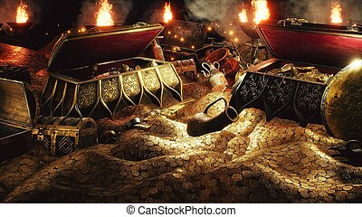 Pirate treasures in a dark cave. Old coins, diamonds, and gold treasures. A lot of jewelry made of gold statuettes, precious stones, bracelets and chests.